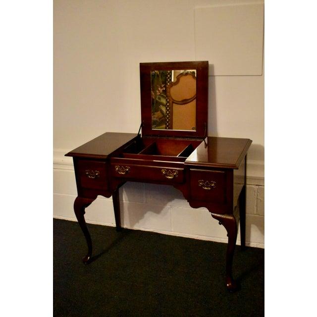 Vintage Ethan Allen Queen Anne Style Solid Cherry Flip Top Vanity For Sale - Image 10 of 13
