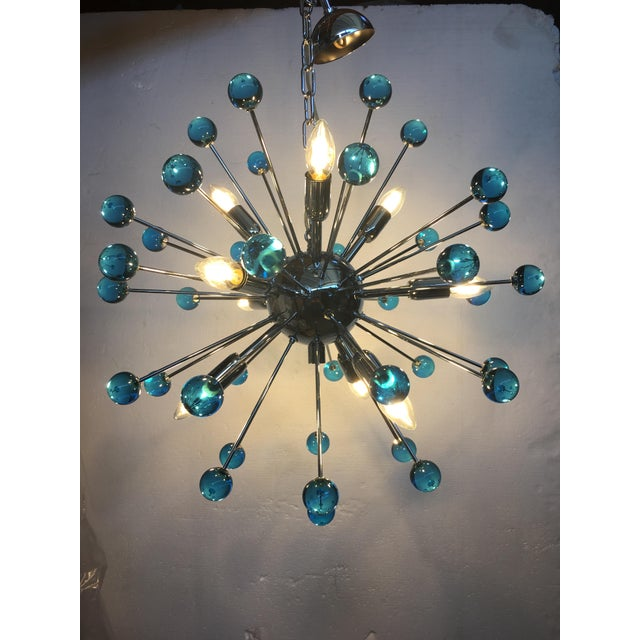 Blue Murano Glass Chandelier in Sputnik Style With a Chrome Frame For Sale - Image 9 of 13