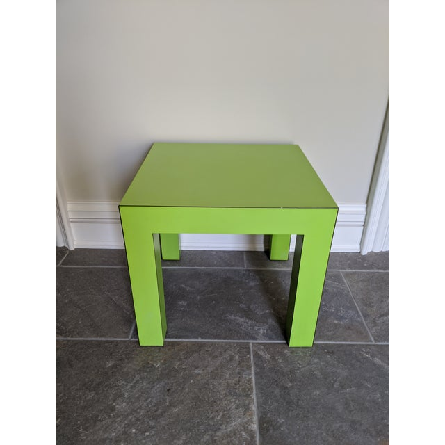 Well-made, heavy square Parsons style side table covered in lime green laminate in the style of Milo Baughman for Thayer...