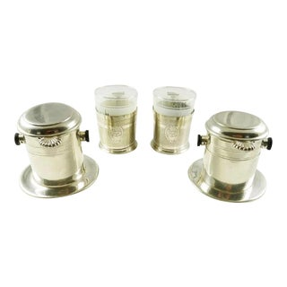 French Silver Plate Vintage Coffee Cups Filter Sets Dripper Style Single Cup Style Toulouse Gift for Coffee Lovers For Sale