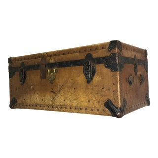 Vintage Shabby Chic Vellum Trunk & Tray For Sale
