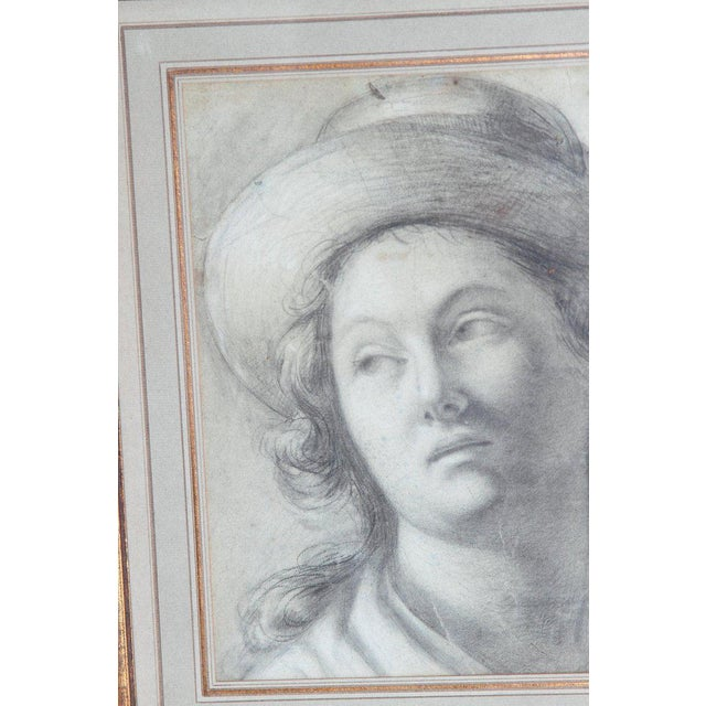 Realism 18th Century Charcoal Drawing of a Young Lady Wearing a Hat For Sale - Image 3 of 13