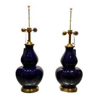 Transitional Ralph Lauren Deep Blue Glaze Gourd Lamps - a Pair
