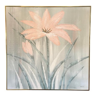 Vintage Art Deco Style Floral Oil on Canvas Signed Jonas For Sale