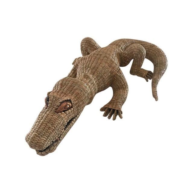 Natural Fiber Folk Art Mario Lopez Torres Crocodile For Sale - Image 7 of 7