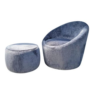 Mid Century Modern Milo Baughman Style Swivel Egg Lounge Chair and Ottoman Newly Upholstered - 2 Piece Set For Sale