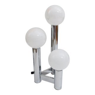 Modern Sculptural Chrome Three-Light Tower Table Lamp by j.t. Kalmar For Sale