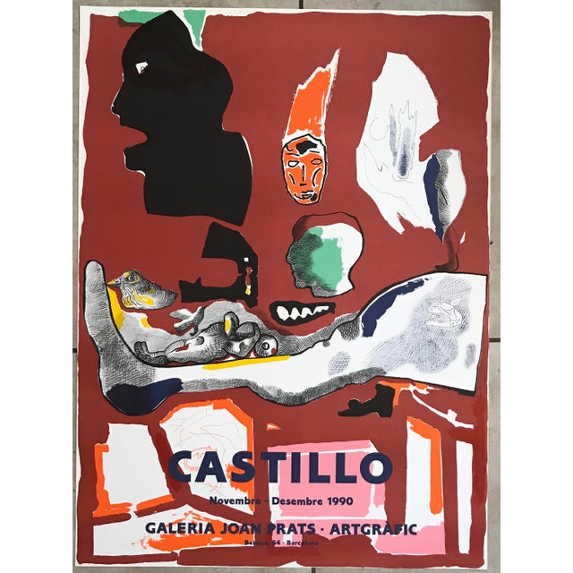 Paper 1990s Jorge Castillo Joan Prats Gallery - Barcelona Lithograph Poster For Sale - Image 7 of 7