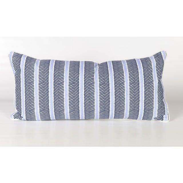 Custom Navy and Ivory Chevron Lumbar Pillow - Image 5 of 5