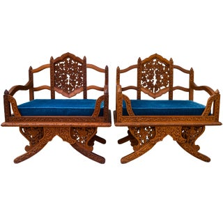 Anglo-Indian Carved Rosewood Chairs, Pair For Sale