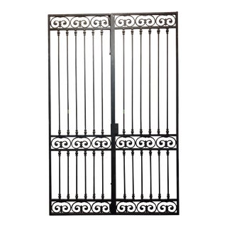 1930/40s Vintage Double Doors Iron Gate With Ornate Designs For Sale