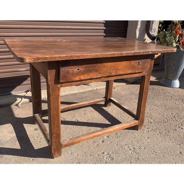French Rustic French Fruitwood Table With Stretchers For Sale - Image 3 of 13