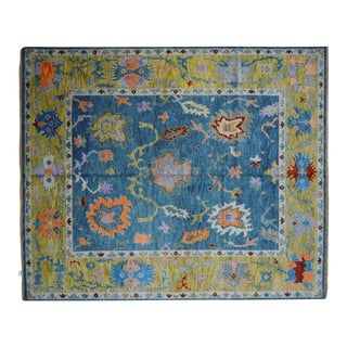Blue Oushak Rug- 8′ × 10′ For Sale