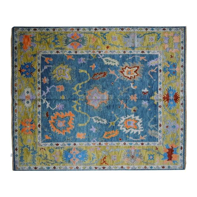 Blue Oushak Rug- 8′ × 10′ For Sale