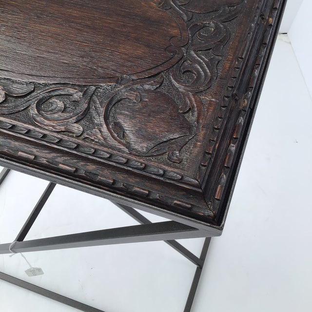 19th Century Antique English Carved Side Table For Sale - Image 5 of 9
