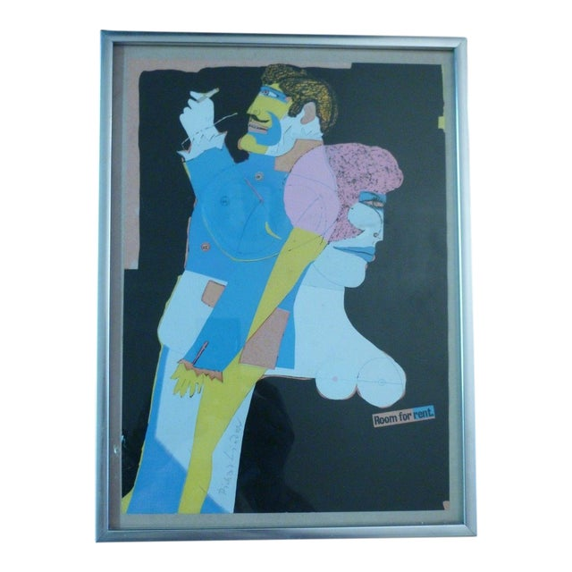 """""""Room for Rent"""" Signed Mixed Media Collage on Paper by Richard Lindner For Sale"""