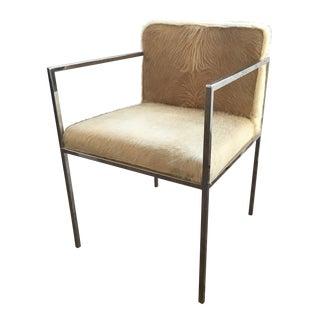 Vintage Mid Century Milo Baughman-Style Vintage Chrome Armchair For Sale