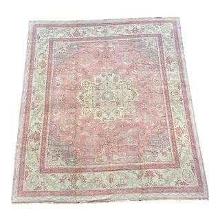 Vintage Turkish Oushak Pastel Pink Wool Rug - 10′8″ × 12′1″ For Sale