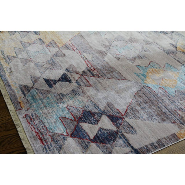 Beige Faded Southwestern Kilim Patterned Tribal Cotton Rug - 4'x6' For Sale - Image 8 of 10