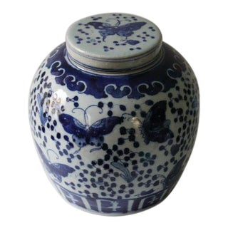 Blue & White Butterfly Ginger Jar For Sale