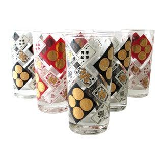 1960s Mid-Century Modern 22k Cocktail Glasses - Set of 6 For Sale