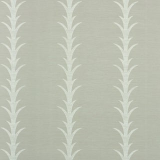 Schumacher X Celerie Kemble Acanthus Stripe Vinyl Wallpaper in Grey For Sale