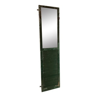 Distressed Green Shutter Mirror For Sale