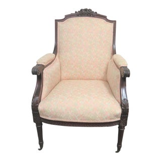 19th Century Louis XVI Rosewood Carved Bergere For Sale
