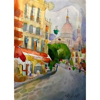 Paris Montmartre, Original Water Color on Arches Cold Press, For Sale