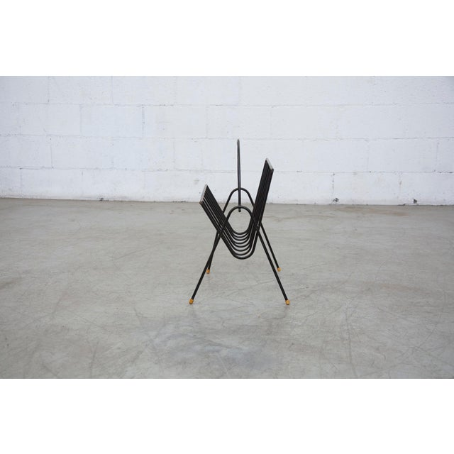 Carl Aubock Style Black Wire Magazine Rack - Image 3 of 9