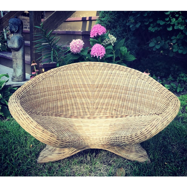 1970s Boho Chic Wicker Meditation Chair For Sale - Image 4 of 9