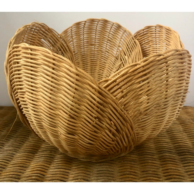 Floriform Structural Natural Woven Wicker Basket Bowl For Sale - Image 4 of 10