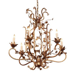 Gold Floral Bagues Iron and Crystal Chandelier For Sale