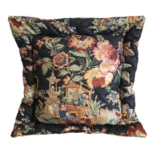 1980s Chinoiserie Navy Pillow For Sale