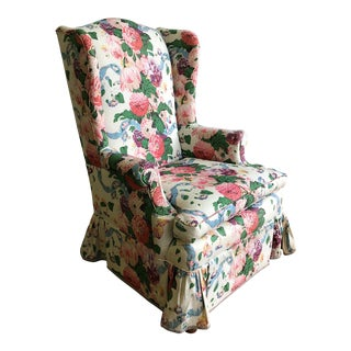 Vintage Pink & Green Chintz Wing Chair
