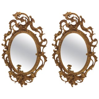 19th Century Antique French Gilt & Gesso Wall Mirror Sconces - a Pair