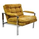 Image of 1960's Vintage Milo Baughman Style Flat Bar Chrome Arm Chair For Sale