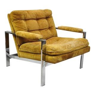 1960's Vintage Milo Baughman Style Flat Bar Chrome Arm Chair For Sale