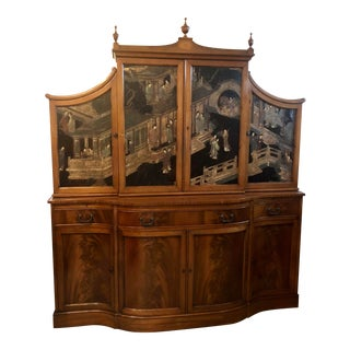 Antique Chinoiserie Two-Piece Burl Wood China Cabinet For Sale