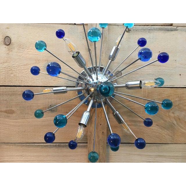 Murano Dark Blue Murano Glass Sputnik Flush Mount or Wall Sconce For Sale - Image 4 of 7