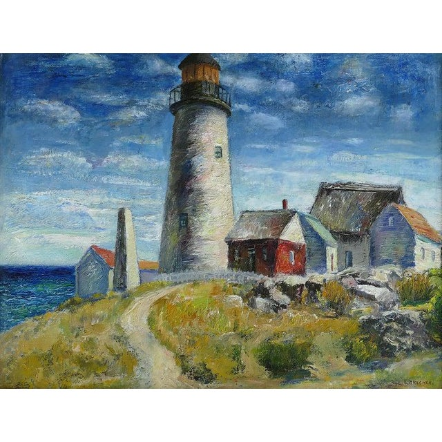 Offered is an outstanding oil painting of a seaside lighthouse by the well listed American artist Samuel Brecher...