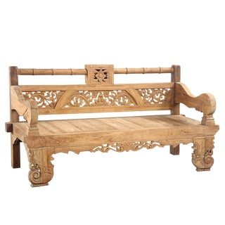 Bali Teak Carved Bench For Sale