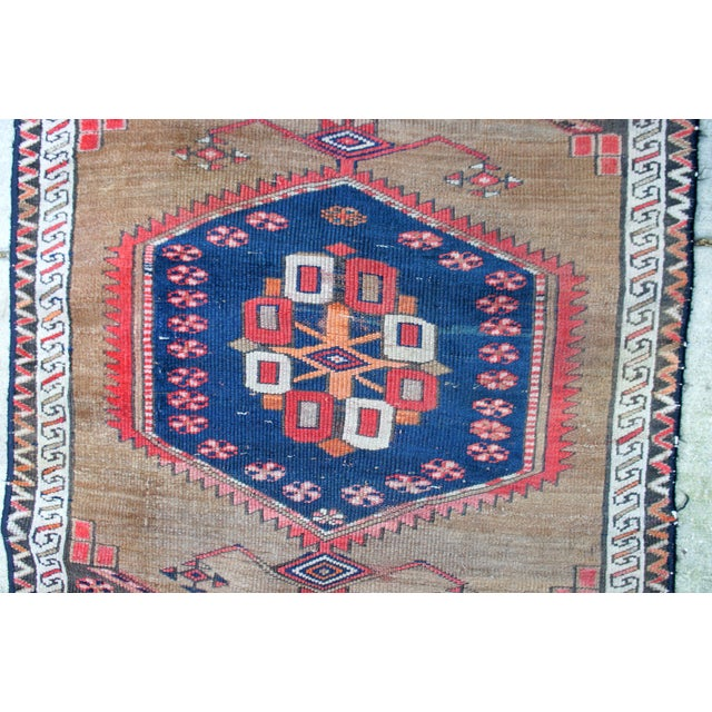 "Blue Vintage Turkish Handknotted Anatolian Tribal Runner-3'4x11'2"" For Sale - Image 8 of 13"