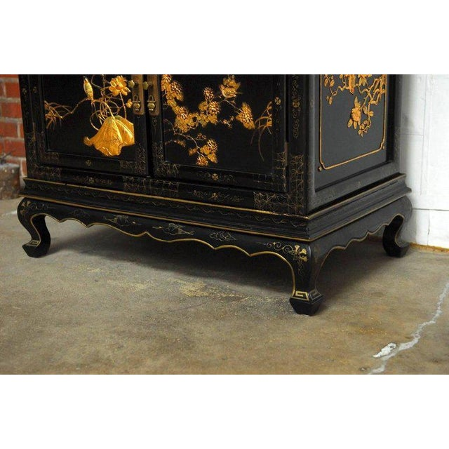 Black Chinese Export Gilt Lacquered Cabinet on Stand For Sale - Image 8 of 11