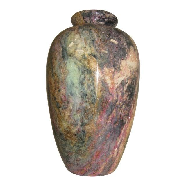 1980s Multi Colored Stone Vase For Sale