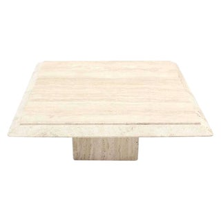 Square Travertine Base & Top Coffee Table For Sale