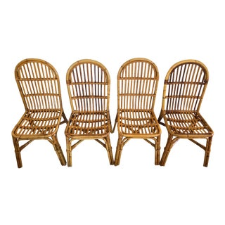 Vintage Palm Regency Rattan Dining Chairs- Set of 4 For Sale