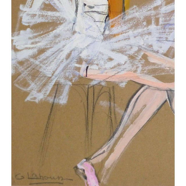 Figurative G. Lahousse, Vintage French Gouache - Ballerina in White For Sale - Image 3 of 5