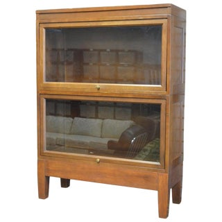 Storage Cabinet Lawyer Barrister 2 Stacking Units With Retractable Glass Fronts For Sale