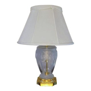 Frederick Cooper Frosted Wheat Pattern Glass & Brass Table Lamp For Sale